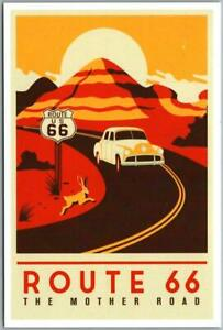 """Modern Print ROUTE 66 Roadside Postcard """"The Mother Road"""" POSTER ART c1990s"""