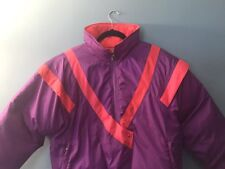Woman's Vintage Purple White Stag Parka Coat Ski Graphics Jacket Size L Puffer