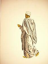 Arabe en burnous djellaba et babouche Gravure orientalist Milan 1985 num 25/99