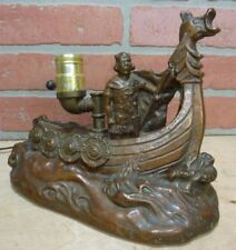 Antique Bronze Clad Viking Ship Figural Decorative Art Lamp Ornate Artwork Light