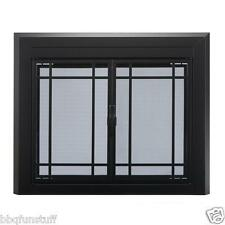 Pleasant Hearth Glass Fireplace Door Easton Black Large EA-5012  Mesh Screens