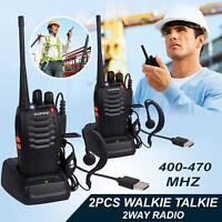 2 BF-888 Baofeng Two Way UHF 400-470 Dual Band Long Range Radio Walkie Talkie