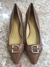 New Nine West Ladies Brown Leather Pump Shoes With Gold Buckles Size 71/2M