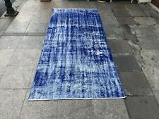 Bohemian Rug,Small Handwoven Carpet,Antique Handmade Carpet,Blue Handmade Rug