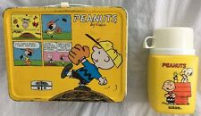 Vintage Peanuts Lunchbox & Thermos Charlie Brown/Snoopy Comic Strip White Handle