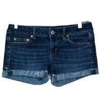 American Eagle Women's Cut-Off Shorts Sz 00 Dark Wash Cuffed Denim Blue Jean