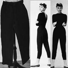 Women's M Diane Gilman DG2 Black Cropped Stretch Twill Pants Slim Notched Ankle