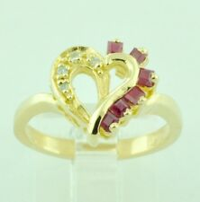 0.27 ct 14k Solid Yellow Gold Ladies Natural  Ruby & Diamond Ring  heart shape