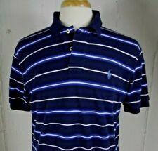 POLO by RALPH LAUREN Mens LARGE Navy Blue White Striped Cotton Golf Shirt L