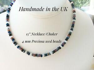 Beaded Necklace Choker Multi Colour Mix 4mm Preciosa Seed Beads SB74