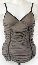 NEW NWT Mystree Brown Rib Knit Rayon Ruched Cami Tank Top M