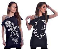 Heartless Occult Gothic Cat Pentacle Skeleton Rose Long Top Off Shoulder T-Shirt