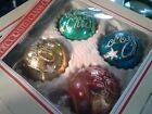 1950s-60s Vintage  Plastic Christmas Ornaments Italy mica design