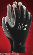 24 Pairs PU Coated Black Nylon Work Gloves. Gardening Builders Mechanic L 9