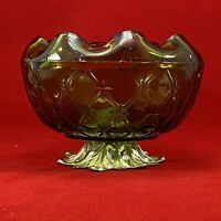 """GREEN GLASS COMPOTE BOWL W/ silver Metal PEDESTAL Footed Stand 4"""" high"""
