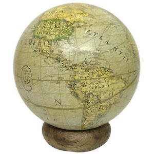 Marco Polo Globe World Map standing on a wooden base Christmas Gift Vintage look
