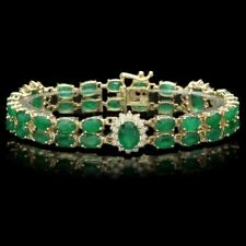 15 Ct 14K Yellow Gold Over Diamond Emerald Bracelet Vintage Tennis Line