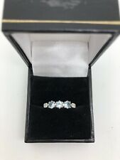 9ct White Gold .06 Carat Diamond and Aquamarine Ring Size R