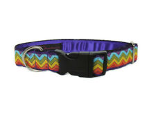 Clip dog collar 1 inch. Side release. Colourful Zigzag