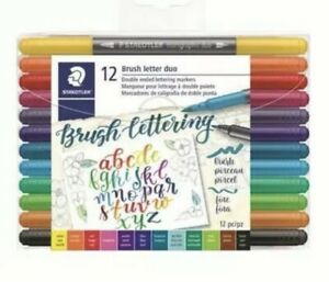 Staedtler Double Ended Lettering Pen - Assorted Colours (Pack of 12)