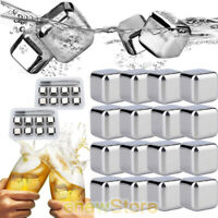 8/16PCS Stainless Steel Chilling Stones Rocks Reusable Ice Cubes with Tongs USA