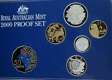 2000 Royal Australian Mint Millennium Celebration Proof  Set Coloured 50 Cents
