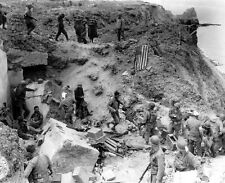 WWII B&W Photo D-Day Pointe Du Hoc Normandy  WW2 World War Two Rangers / 1051