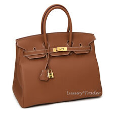 BNIB NEW AUTHENTIC HERMES BIRKIN 35 GOLD TAN TOGO LEATHER GHW HANDBAG BAG
