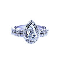3Ct Pear Cut Simulant Diamond Halo Engagement Ring Set Silver White Gold Finish