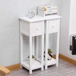 Telephone Bedside Table Cabinet Nightstand Side Drawer Shelf Storage Bedroom UK