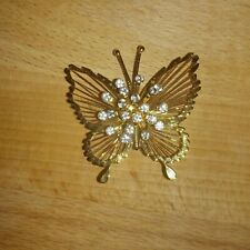 Brooch Pin With Rhinestones Vintage Monet Gold Tone Butterfly