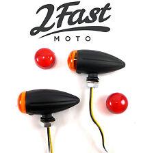 2FastMoto Metal Turn Signals Matte Black Buffalo Style LED Bullet Honda Kawasaki