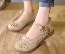 Retro Ladies Embroidery Floral Ankle Strap Mary Jane Flat Round Toe Shoes Casual