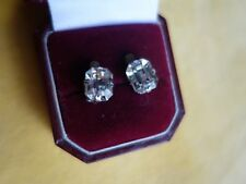 1950s Clip Earrings - small Art Deco rectangle design - clear glass diamante