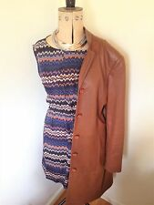 Ladies Vintage Zara Basics Brown Fitted Leather Coat Size M