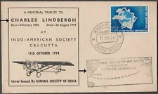 INDIA USA 1974 UPU VALUE CHARLES LINDBERGH AIRMAIL SOCIETY TRIBUTE COVER -SCARCE