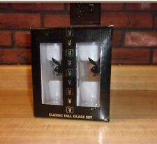 """""""PLAYBOY""""  CLASSIC TALL GLASS SET of 4 New in Box Gift Set 2005"""