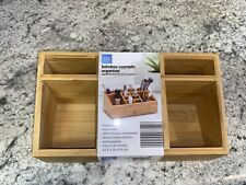 Easy Home Bamboo Bathroom Tray Caddy Organizer for Beauty Products