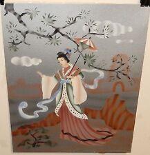 GEISHA GIRL WITH AN UMBRELLA ORIGINAL WATERCOLOR ASIAN PAINTING