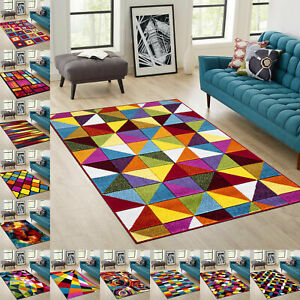 Unique Modern Colorful & Vibrant Abstract Area Rug Living Room Bedroom Carpet UK