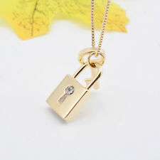 Cute Lock Key Pendant Gold Plated Necklace Lady Fashion Jewelry Gift Party
