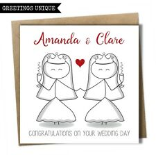 Personalised Wedding Day Card Mrs and Mrs Bride Same Sex Gay Civil Wedding Card