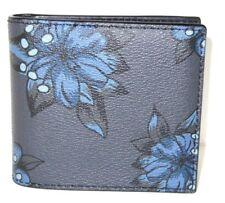 Coach Men's Double Billfold Wallet Hawaiian Lilly Midnight Blue F32304 NWT $175
