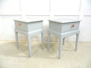 VINTAGE RETRO PAINTED STAG BEDSIDE CABINETS COPPER HANDLES 1970s restyled