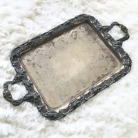 Antique Large Barbour Silver Plated Butler Tray Etched Clam Grape Vines Art Deco
