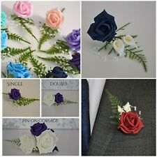 Wedding Corsage buttonholes pin on groom bride with or with out calla lily