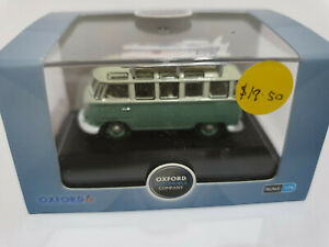 Oxford Diecast 76VWS005 VW T1 Samba Bus & surfboards Turquoise & Blue White 1/76
