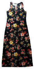 NWT FLORAL MAXI DRESS SHABBY ROSE FLOWERS RED YELLOW BLACK STRETCHY SZ S SMALL