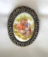 Elegant Baroque Glass Courting Scene Antiqued Silver-tone Brooch 1960s Vintage