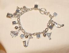 Delightful Musical Instruments Music Lovers Silvertone Charm Bangle Bracelet